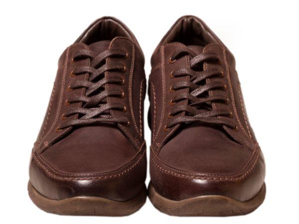 کفش اسپرت بنددار چرمی مدل اروین رنگ قهوه ای