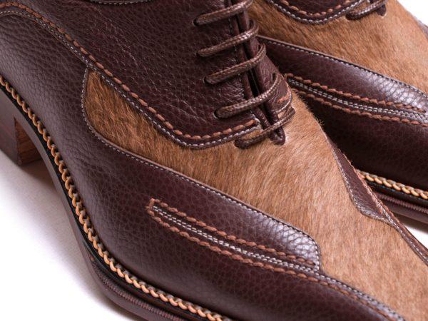 کفش دامادی دست دوز با پوست طبیعی گاوی مدل لئوناردو