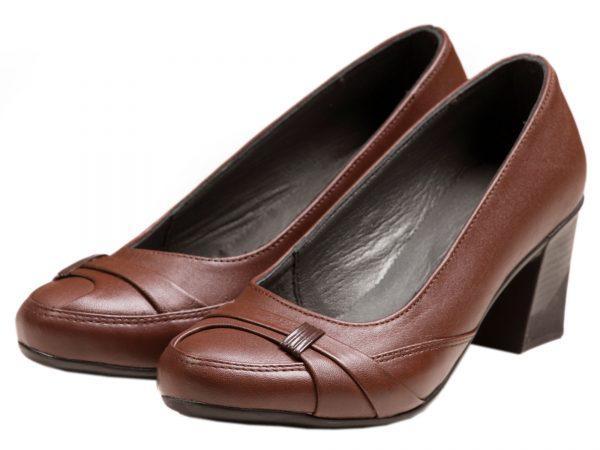 عکس مدل کفش زنانه پاشنه کوتاه زنانه مدل آنیل قهوه ای