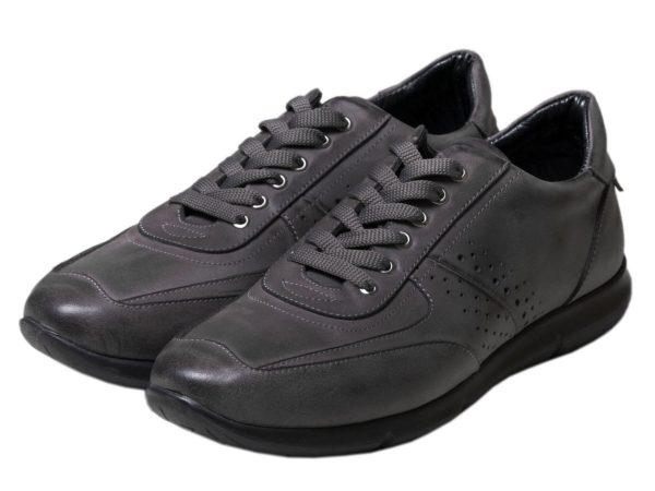 کفش چرم اسپرت طوسی مدل استوکس