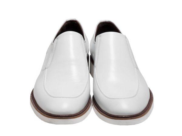 کفش چرم تبریز مدل فابی بدون بند رنگ سفید