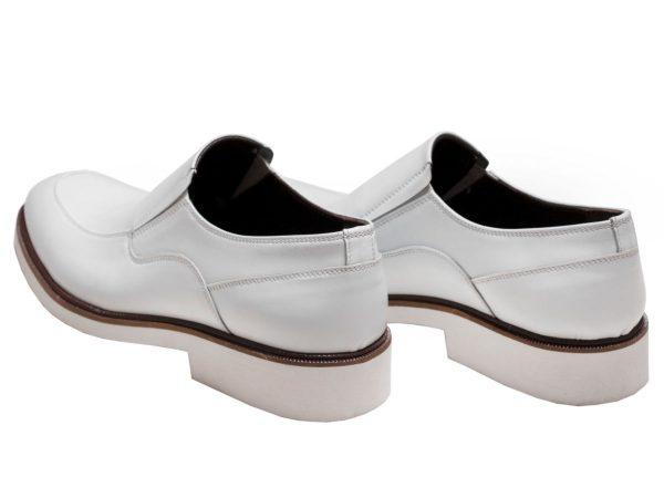 کفش چرم سفید دامادی مدل فابی بدون بند تبریز