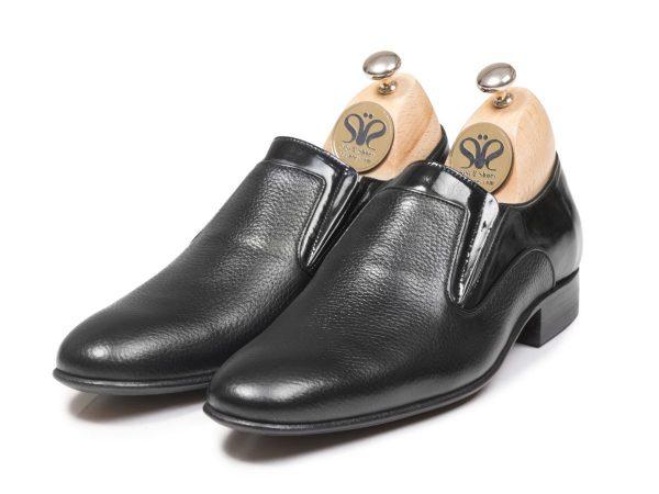 کفش چرم بی بند مردانه مدل آلدو رنگ مشکی