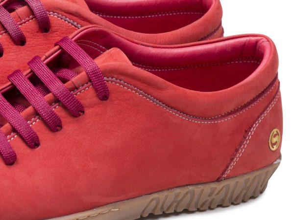 کفش کتانی دخترانه رنگ گلبهی با چرم نابوک مخملی مدل آیسان