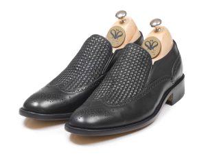 کفش چرم تبریز مدل مانچو بافتی