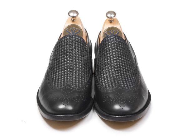 چرم بافته شده کفش دستدوز تبریز مدل مانچو مشکی