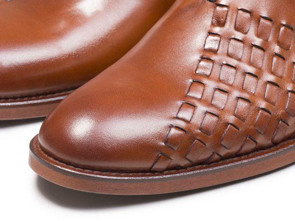 چرم بافته شده کفش مردانه مجلسی مدل دیبالا عسلی