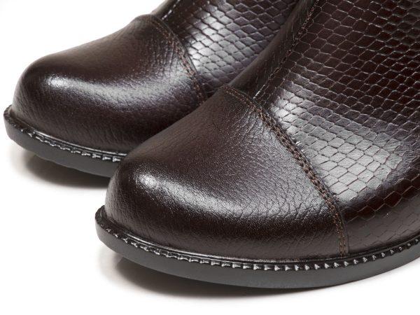 چرم مات طرح دار کفش زنانه مدل بانیا قهوه ای