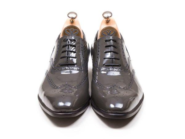 کفش تبریز چرم ورنی رنگ طوسی مدل آذین