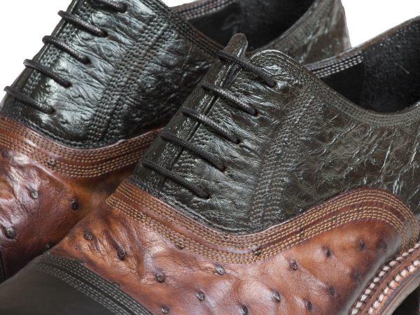 کفش چردانه با چرم شترمرغ طرح آکسفورد مدل شایان