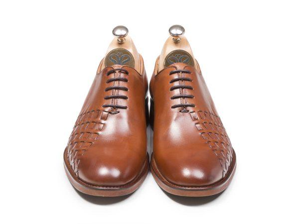 کفش چرم تبریز مدل دیبالا رنگ عسلی