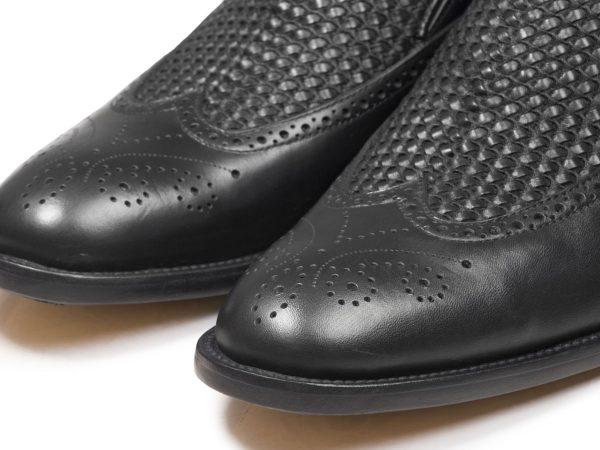 کفش چرم دستدوز تبریز مدل مانچو بافتی رنگ مشکی