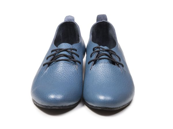 کفش چرم فلوتر آبی مدل روکا