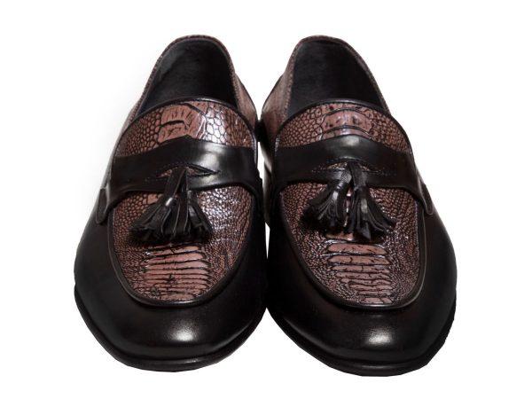 کفش چرم مردانه کالج چرم ساق پای شترمرغ مدل هیرو