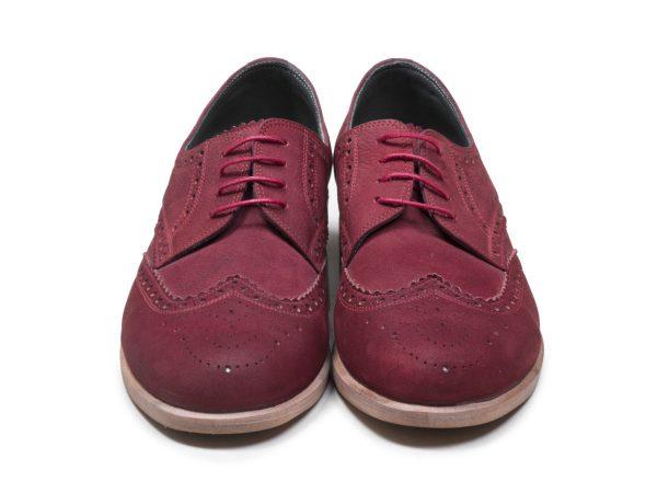 کفش چرم دستدوز زنانه با چرم نابوک زرشکی