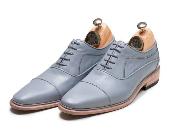 کفش دستدوز مردانه چرمی مدل اسپانیایی رنگ طوسی
