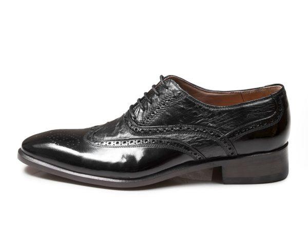 کفش ورنی مجلسی چرم شترمرغ مدل ارس