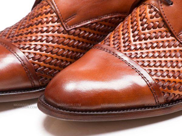 کفش مجلسی مردانه رنگ عسلی حصیری