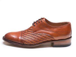 کفش مردانه دستدوز مدل بافتی سرپنجه دار